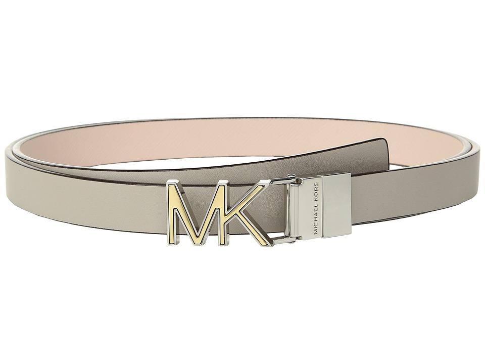 MICHAEL Michael Kors Reversible Two-Tone Logo Belt (Pearl Grey/Soft Pink) Women