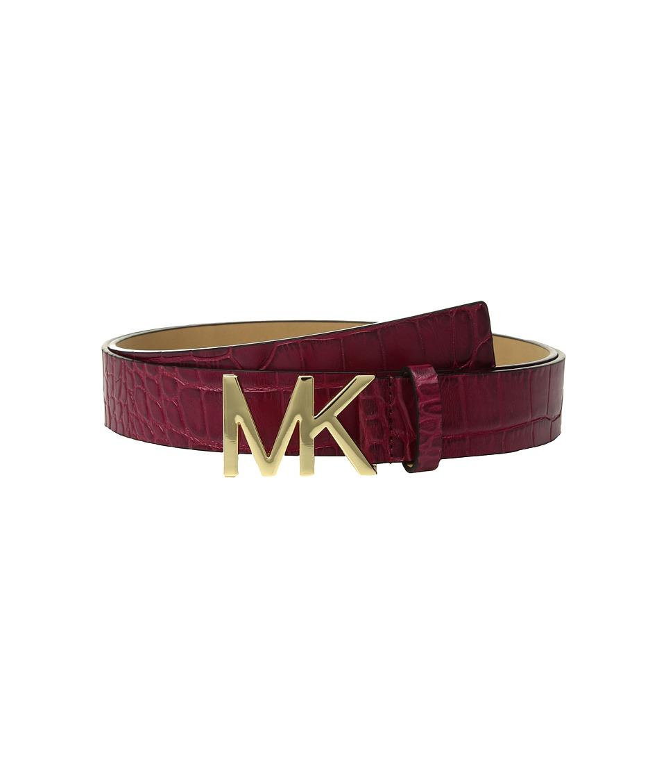 MICHAEL Michael Kors Croc Logo Belt (Mulberry) Women
