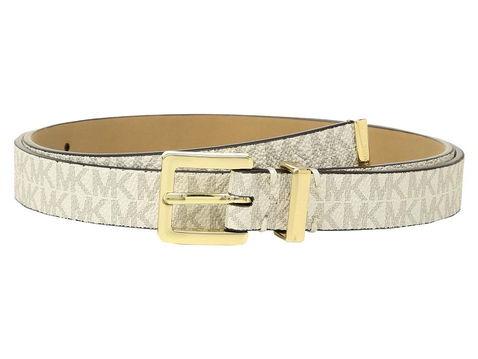 MICHAEL Michael Kors Skinny Logo Belt (Vanilla) Women