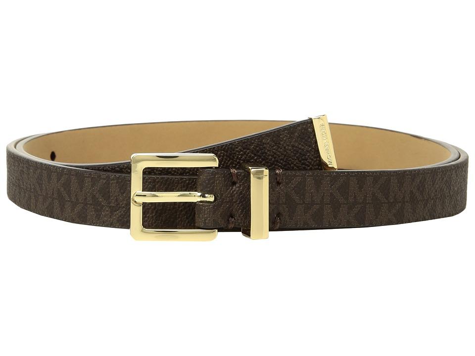 MICHAEL Michael Kors Skinny Logo Belt (Chocolate) Women