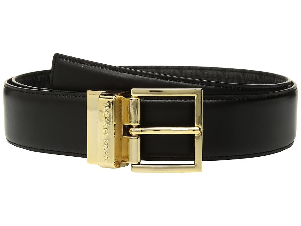 MICHAEL Michael Kors Reversible Smooth to Logo Belt (Black/Black) Women