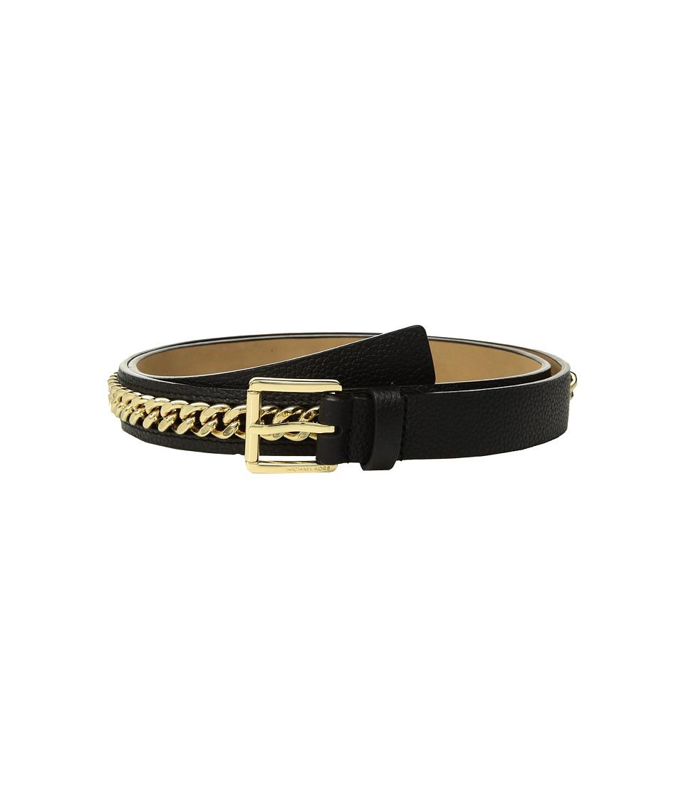 MICHAEL Michael Kors Mini Pebble Chain Belt (Black) Women