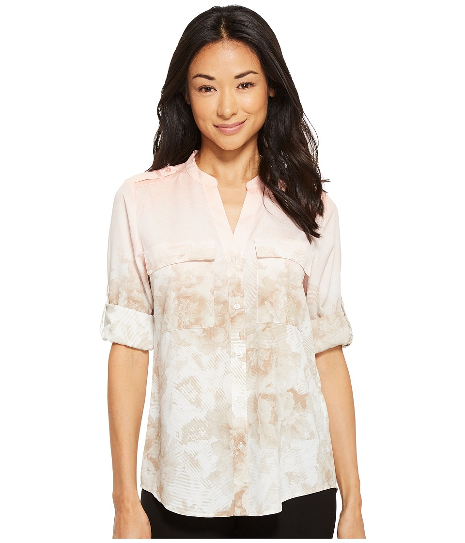 Calvin Klein - Printed Roll Sleeve Blouse (Nectar/Latte/Ombre) Womens Blouse