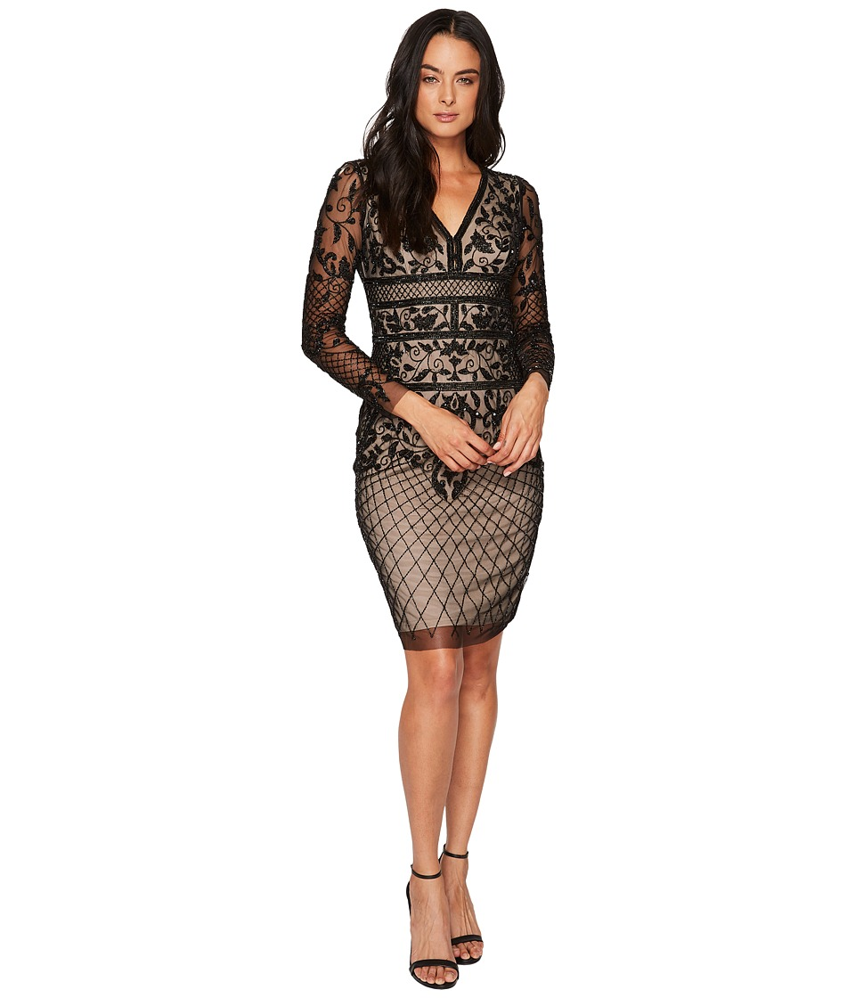Adrianna Papell - Long Sleeve Fully Beaded Cocktail Dress with Nude Lining