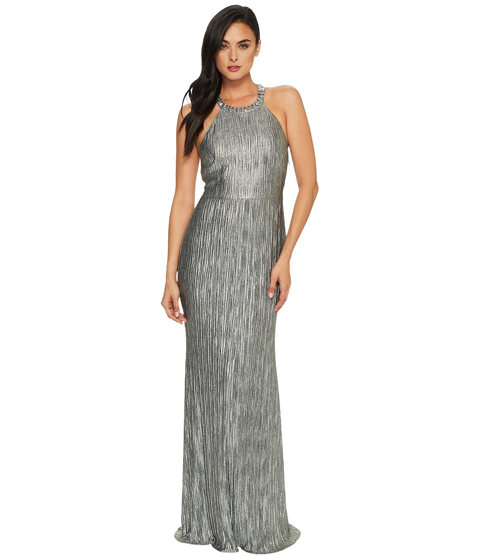 Adrianna Papell Crinkle Jersey Chocker Neck Gown (Silver) Women