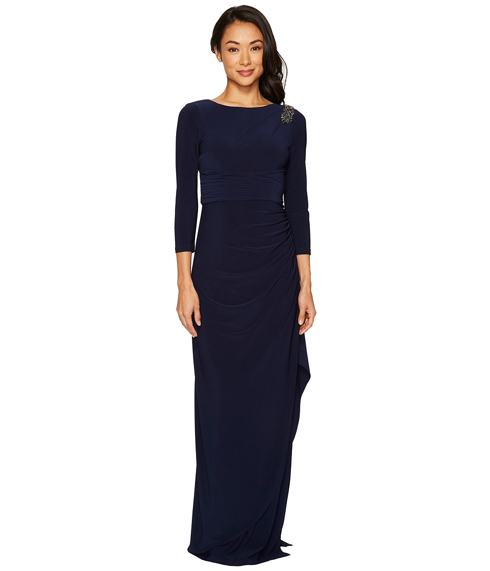 Adrianna Papell - Long Sleeve Jersey Gown with Beaded Shoulder