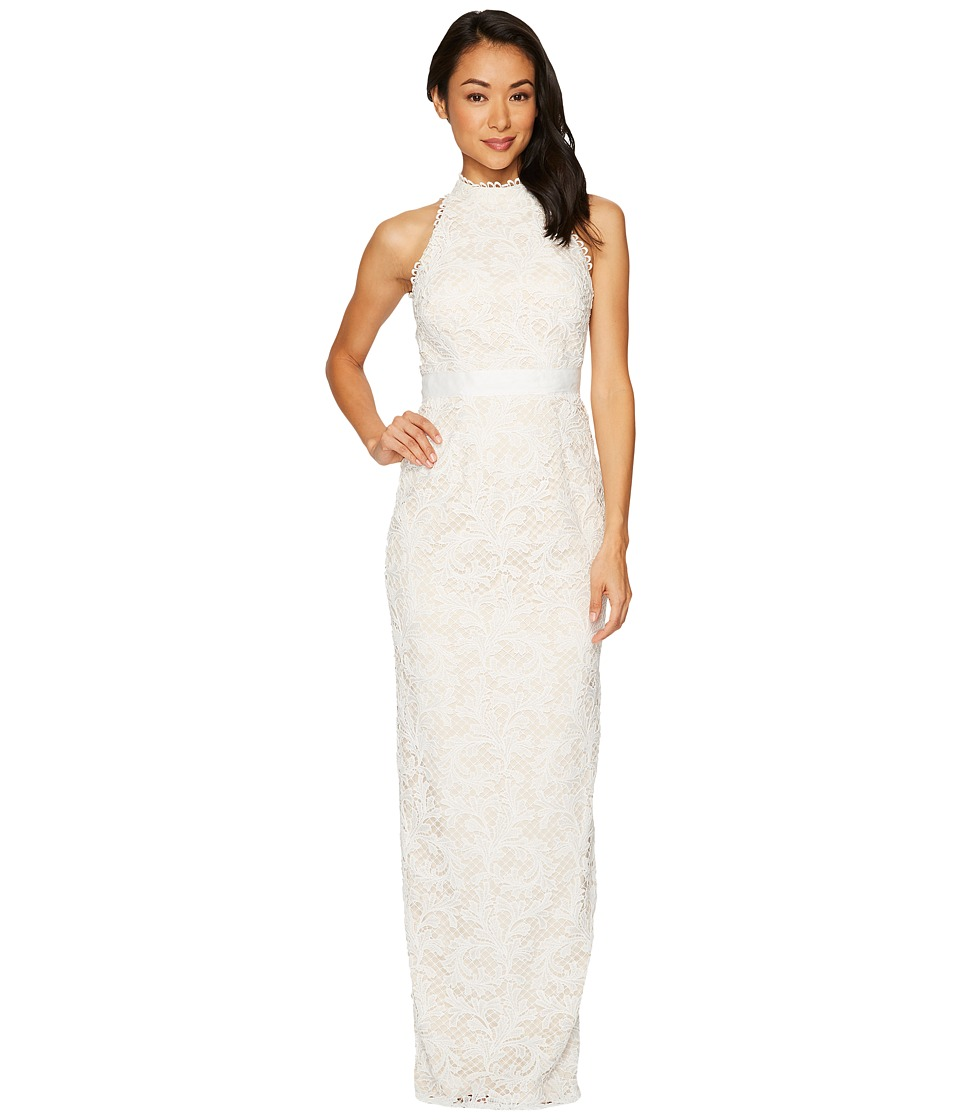 Adrianna Papell - Lace Halter Wedding Gown (Ivory) Women's Dress
