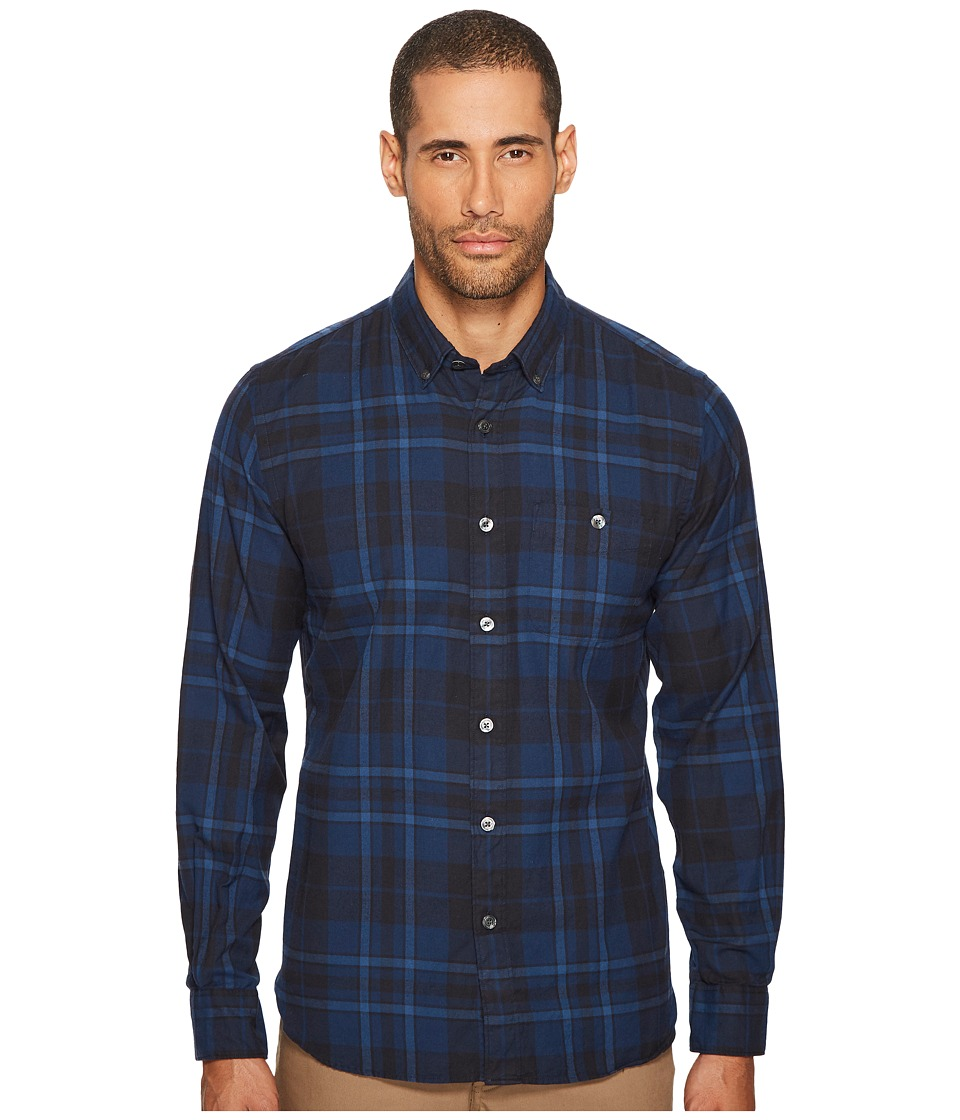 Todd Snyder - Point Collar Plaid Flannel Shirt (Blue) Mens Clothing