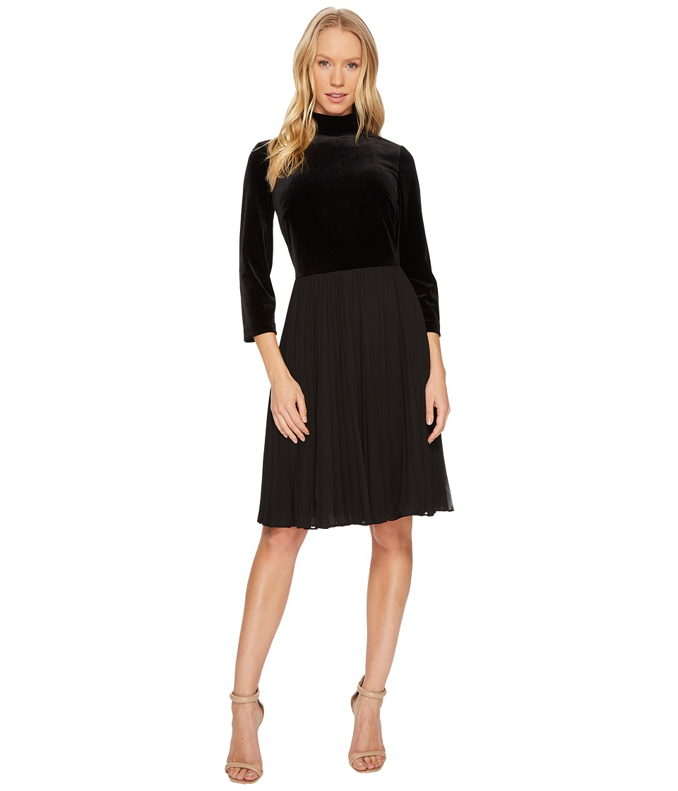 Adrianna Papell - Velvet Mock Neck Fit and Flare Dress