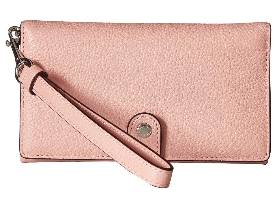 COACH - Polished Pebble Phone Wristlet (SV/Peony) Wristlet Handbags