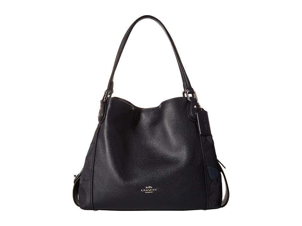 COACH - Patchwork Tea Rose Edie 31 Shoulder Bag (SV/Navy) Shoulder Handbags