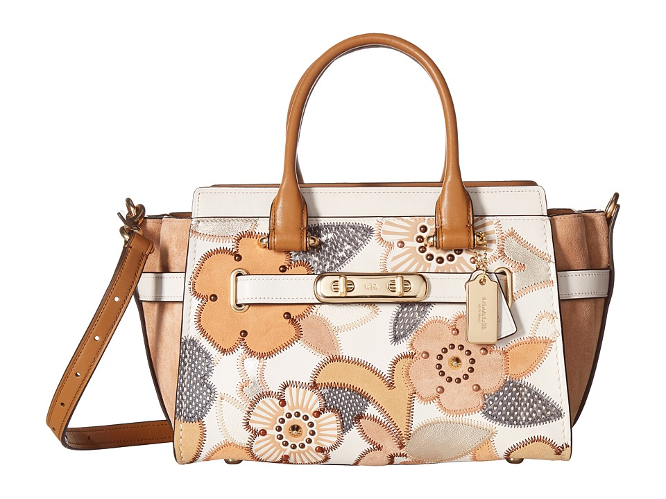 COACH - Coach Swagger 27 With Patchwork Tea Rose And Snakeskin Detail (Li/Chalk Multi) Handbags
