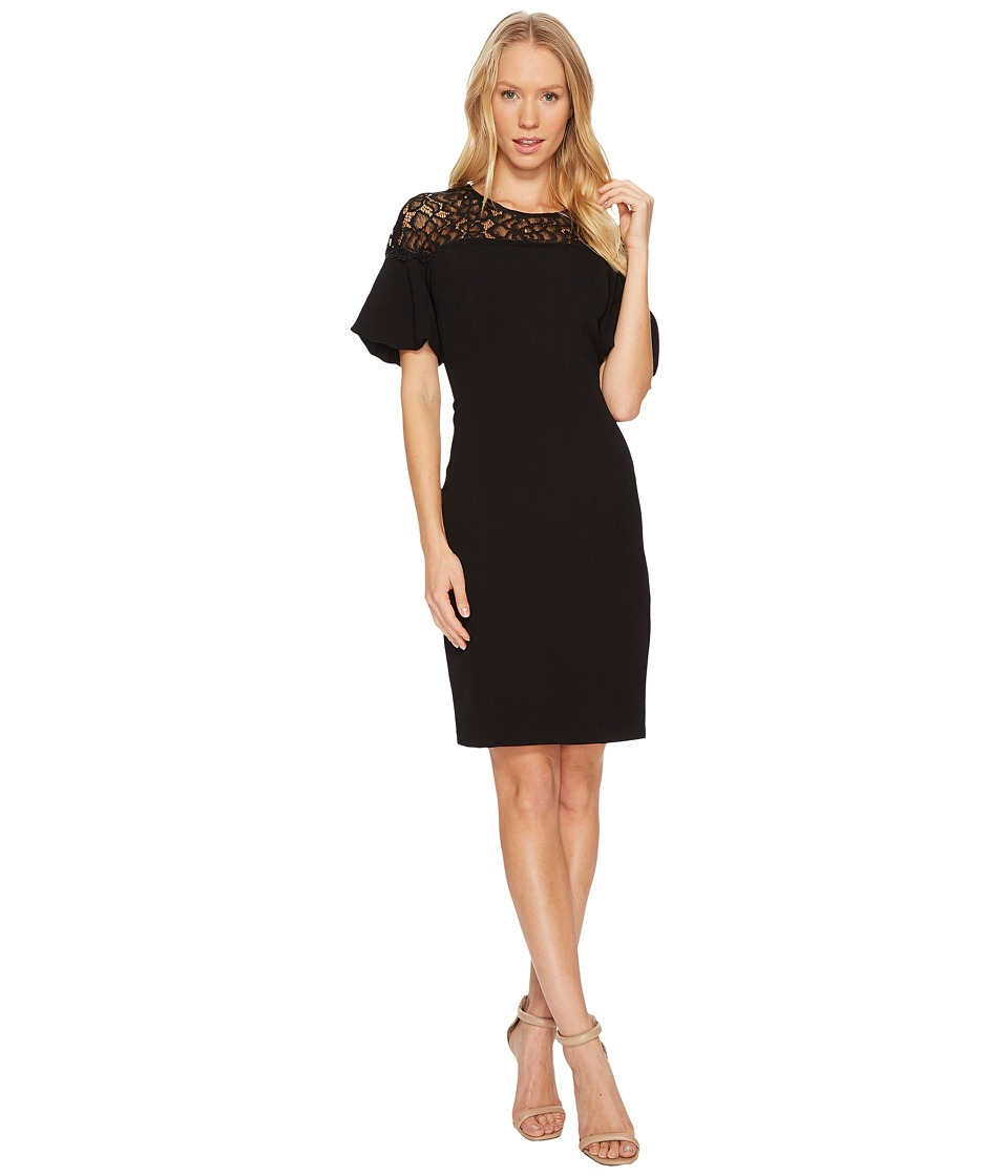Adrianna Papell - Textured Crepe Bubble Sleeve Sheath Dress