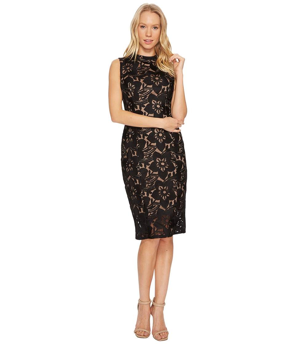 Adrianna Papell - Lace Mock Neck Sheath Dress