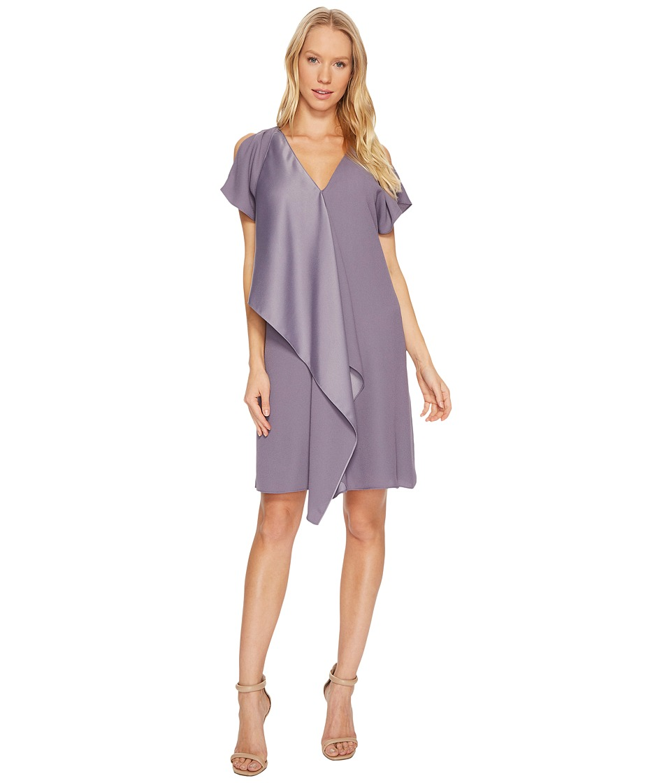 Adrianna Papell Crepe Back Satin Ruffle Shift Dress (Plum Shadow) Women