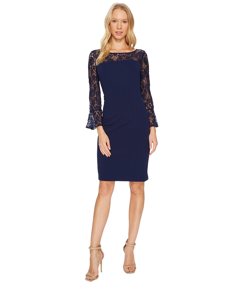 Adrianna Papell - Knit Crepe and Lace Sheath Dress