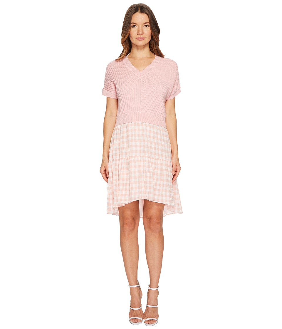Boutique Moschino - Dress w/ Pattern Bottom (Pink Gingham) Womens Dress