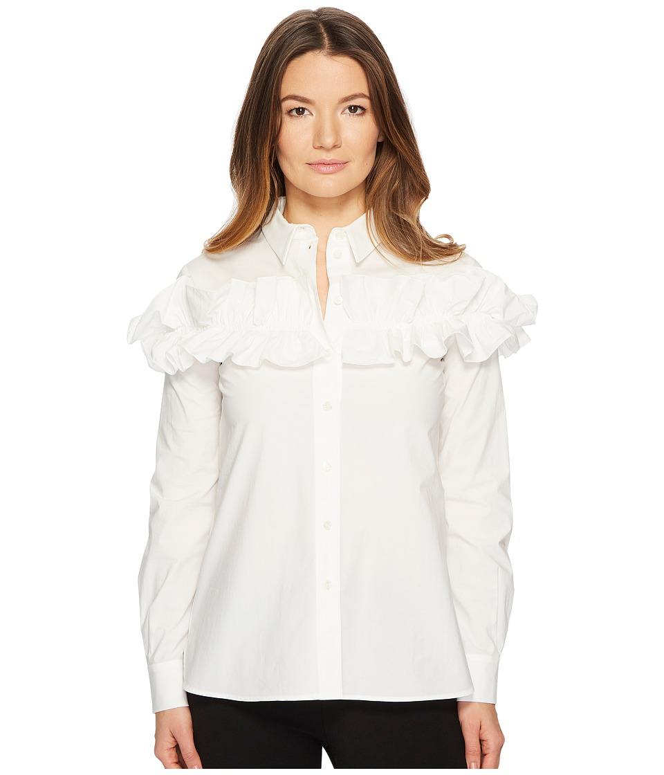 Boutique Moschino - Ruffle Blouse (White) Womens Blouse