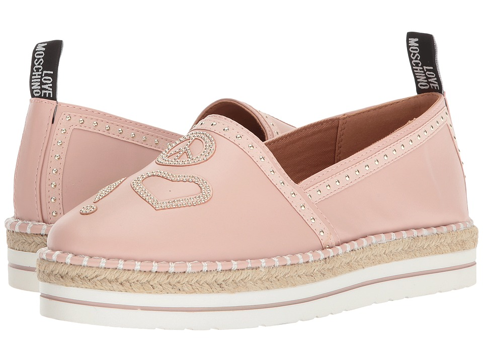 LOVE Moschino - Espadrille w/ Studded Detail (Pink) Womens Shoes