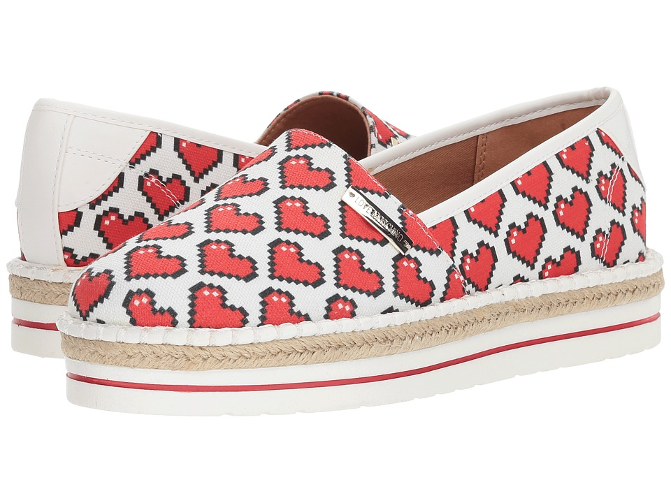 LOVE Moschino - Espadrille w/ Hearts (White) Womens Shoes