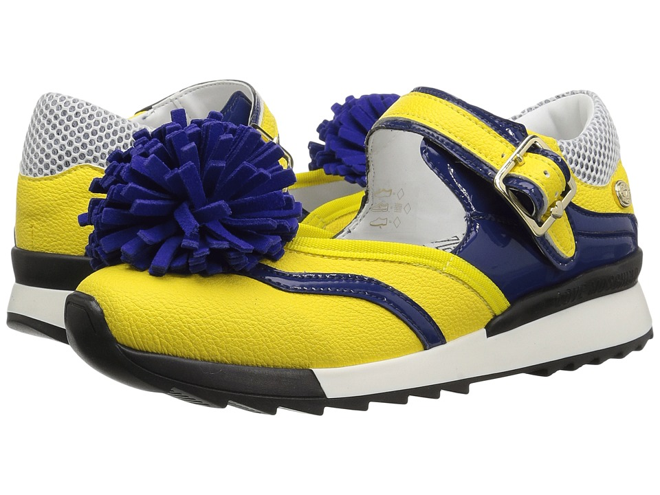 LOVE Moschino - Sneaker w/ Pom Pom (Yellow/Blue) Womens Shoes