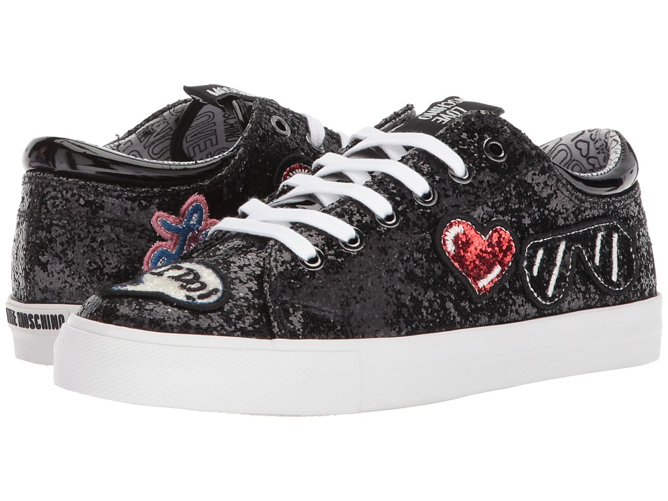 LOVE Moschino - Sneaker w/ Patches (Fantasty Color Black) Womens Shoes