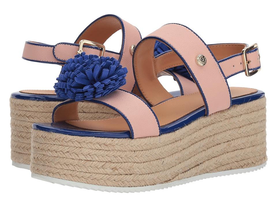LOVE Moschino Platform Sandal w/ Pom Pom (Pink/Black) Women