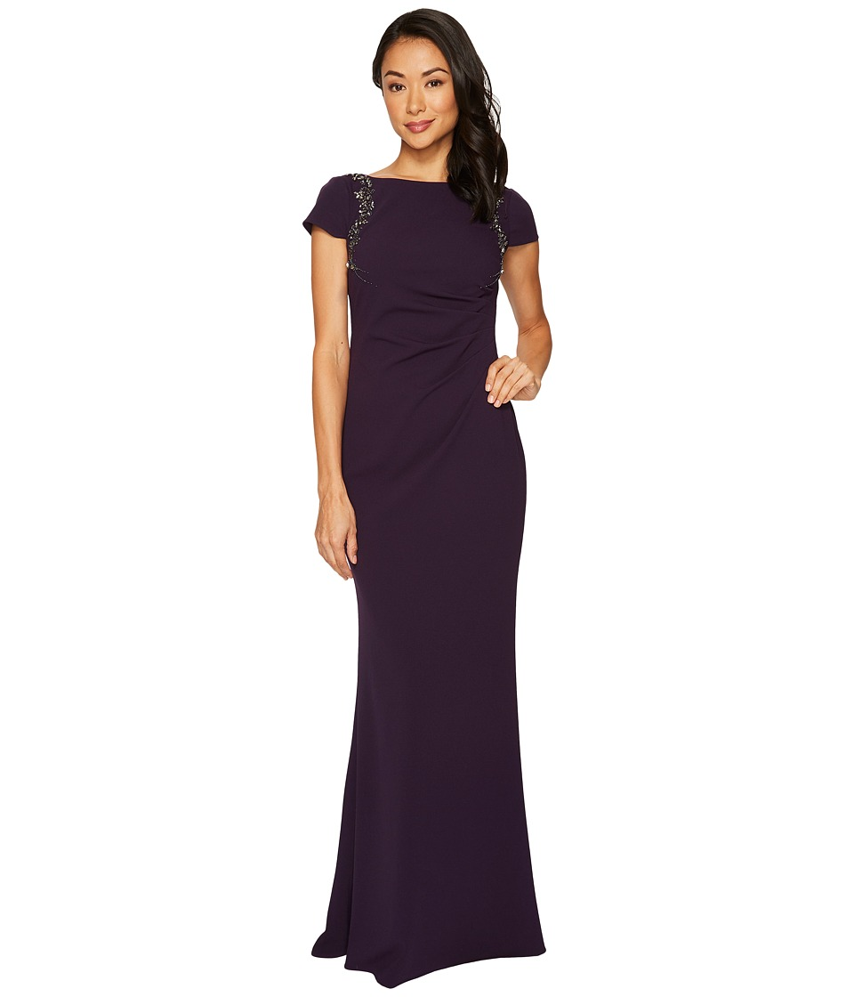 Adrianna Papell - Short Sleeve Crepe Gown with Beaded Shoulder Detail
