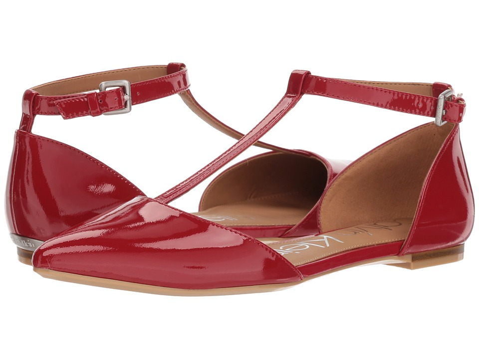 Calvin Klein Ghita Flat (Crimson Red) Women