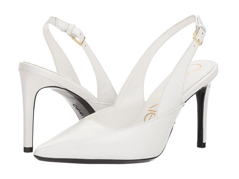Vintage Wedding Shoes, Flats, Boots, Heels Calvin Klein - Rielle Platinum White High Heels $115.00 AT vintagedancer.com
