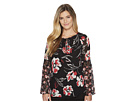 Calvin Klein Printed Long Sleeve Flare Blouse w/ Lace