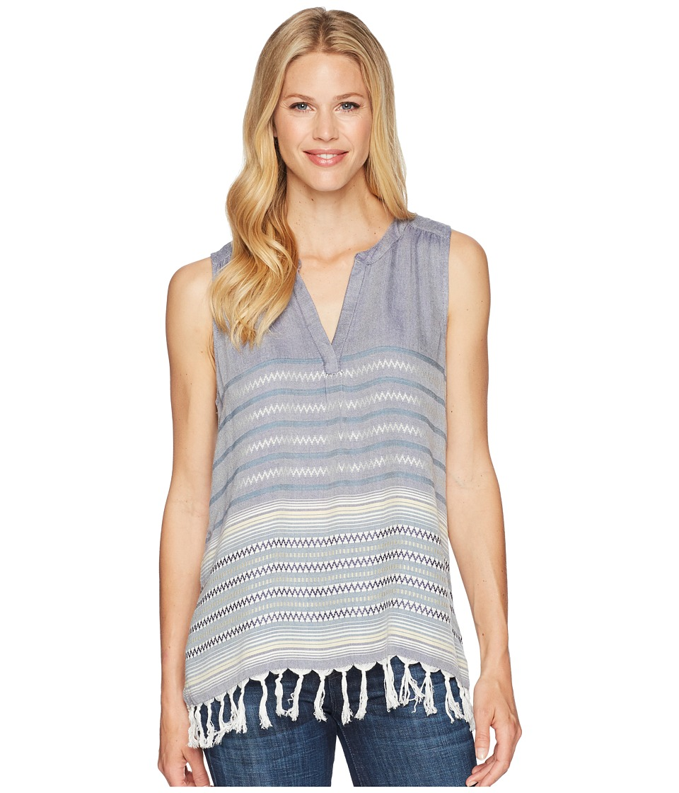 Dylan by True Grit - Denim Dream Catcher Sleeveless Tunic with Fringe Hem (Denim) Womens Sleeveless