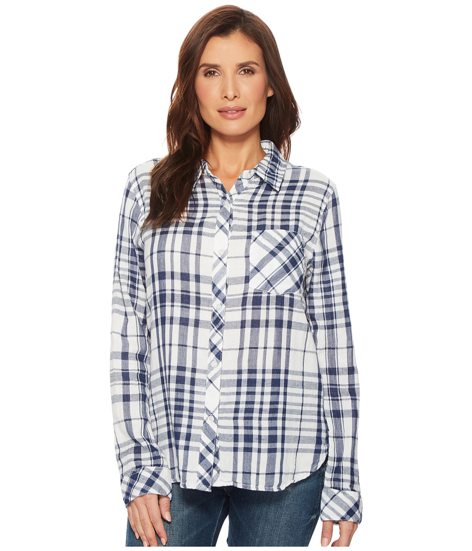 Dylan by True Grit - Fresh White and Denim One-Pocket Plaid Luxe Double Cloth Shirt (White/Denim) Womens Long Sleeve Button Up