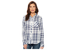 Dylan by True Grit Fresh White and Denim One-Pocket Plaid Luxe Double Cloth Shirt