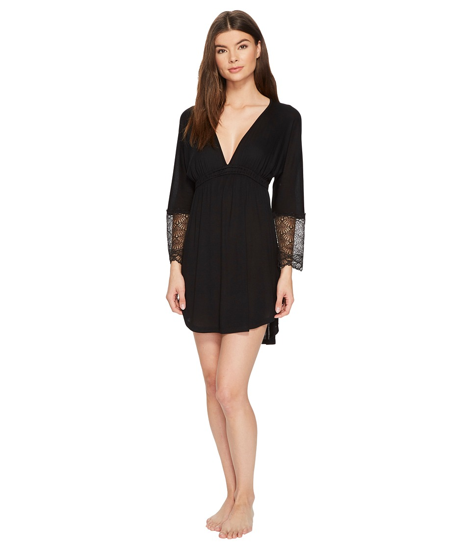 Only Hearts - Venice Shirttail Nightdress (Black) Womens Pajama