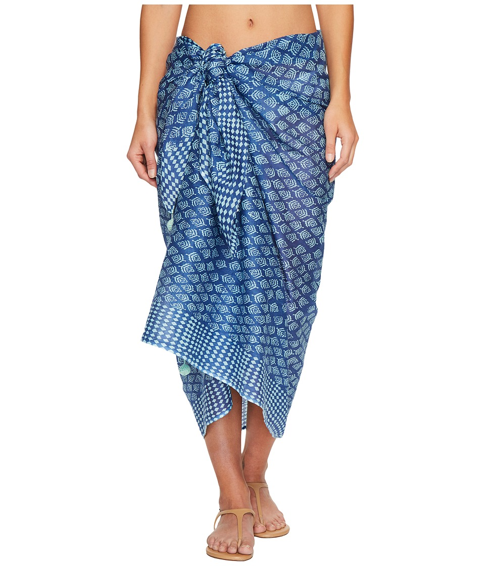 Hat Attack - Printed Sarong/Scarf (Blues Block Print) Scarves