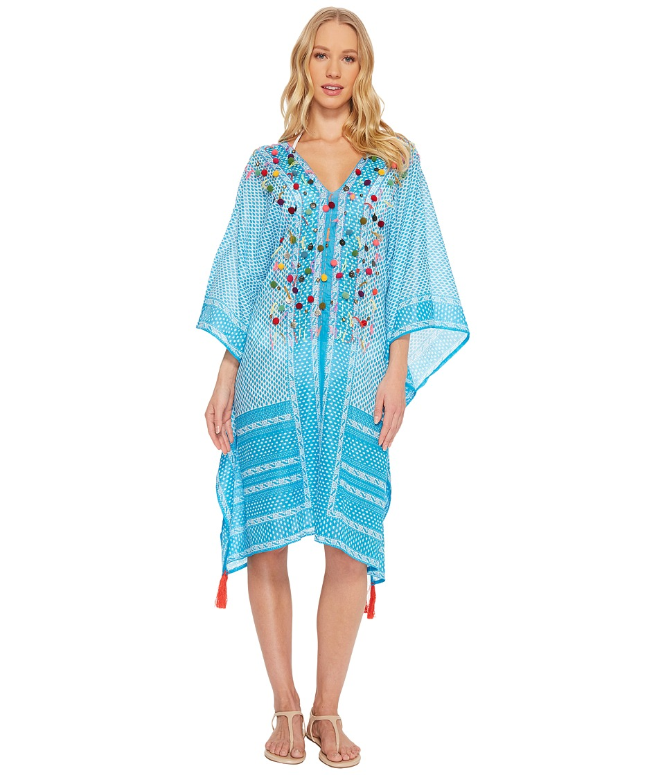 Hat Attack - Embellished Mid Length Cover-Up (Turquoise) Womens Swimwear