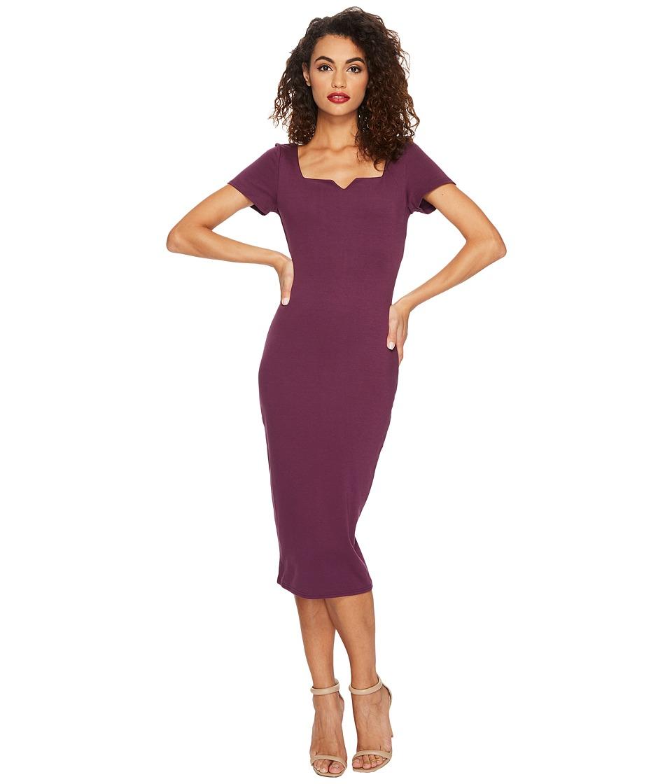 Unique Vintage Short Sleeve Harris Knit Wiggle Dress (Eggplant Purple) Women