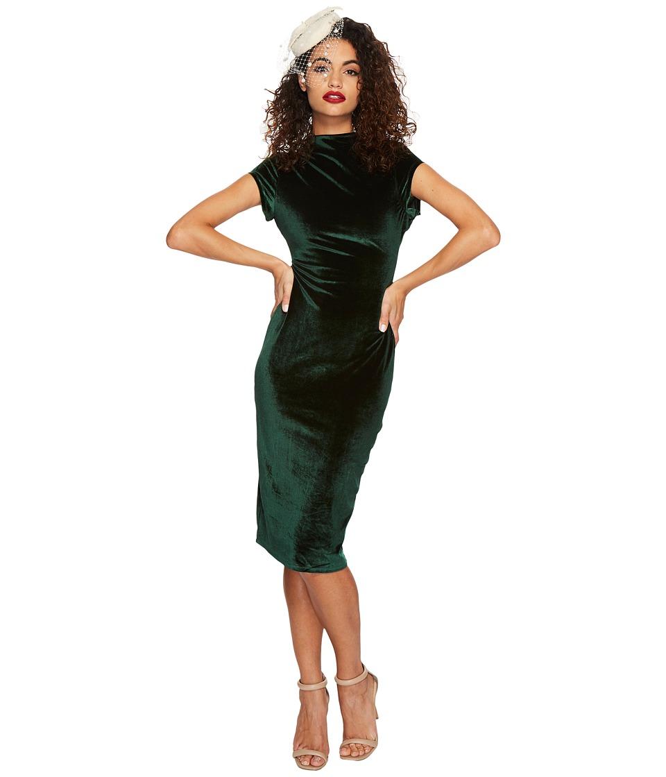 Unique Vintage Velvet Holly Wiggle Dress (Emerald) Women