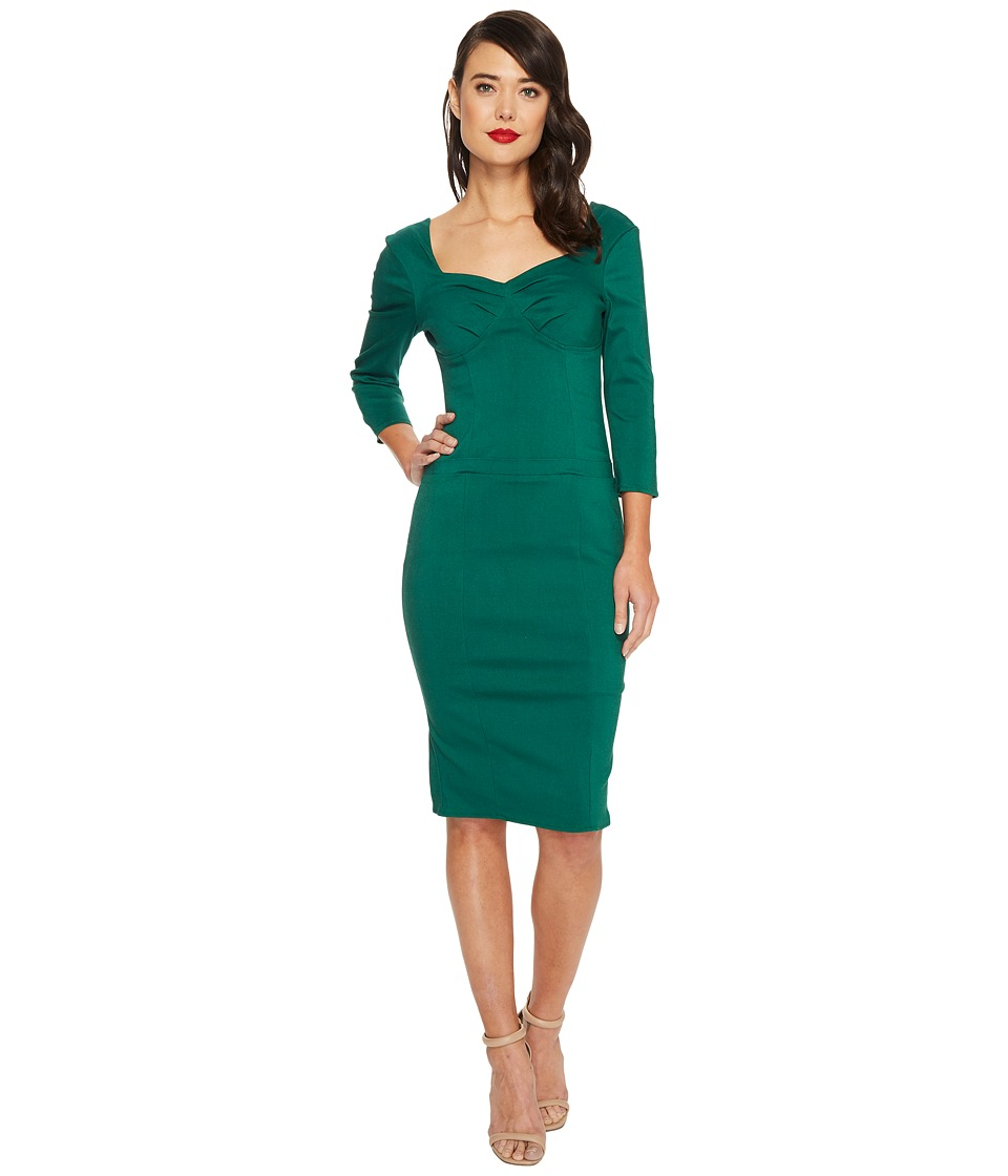 Unique Vintage Sleeved Joanie Wiggle Dress (Emerald Green) Women