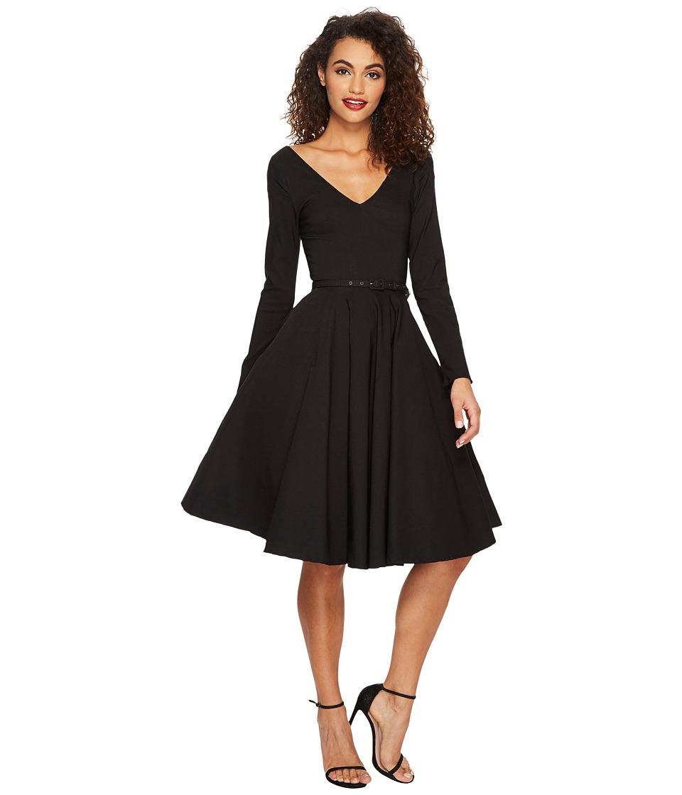 Unique Vintage Long Sleeve Maude Swing Dress (Black) Women