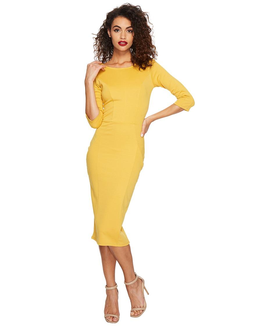 Unique Vintage Three Quarter Sleeve Mod Dress (Mustard) Women