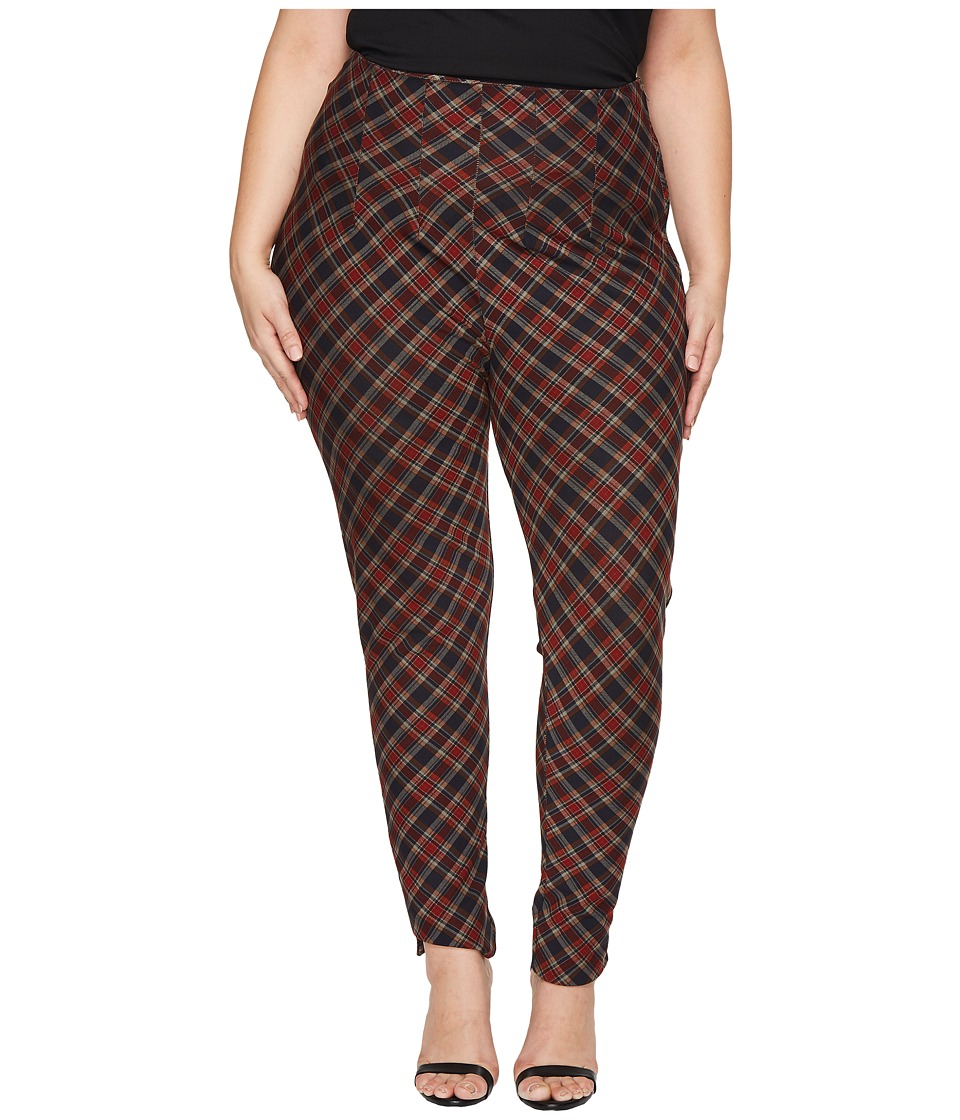 Vintage High Waisted Trousers, Sailor Pants, Jeans Unique Vintage - Plus Size Elaine Cigarette Pants Burgundy Plaid Womens Casual Pants $82.00 AT vintagedancer.com