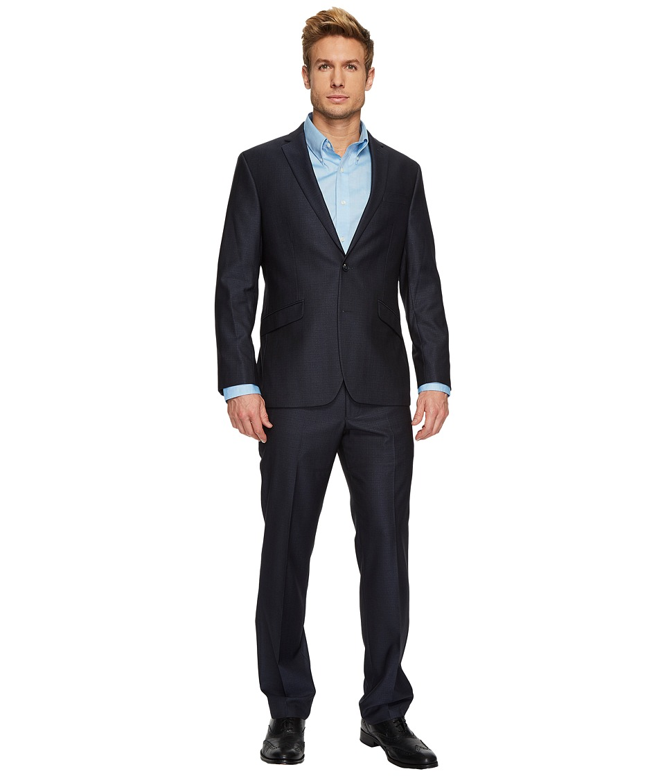 Kenneth Cole Reaction - Shiny Check Suit (Gold/Blue) Mens Suits Sets