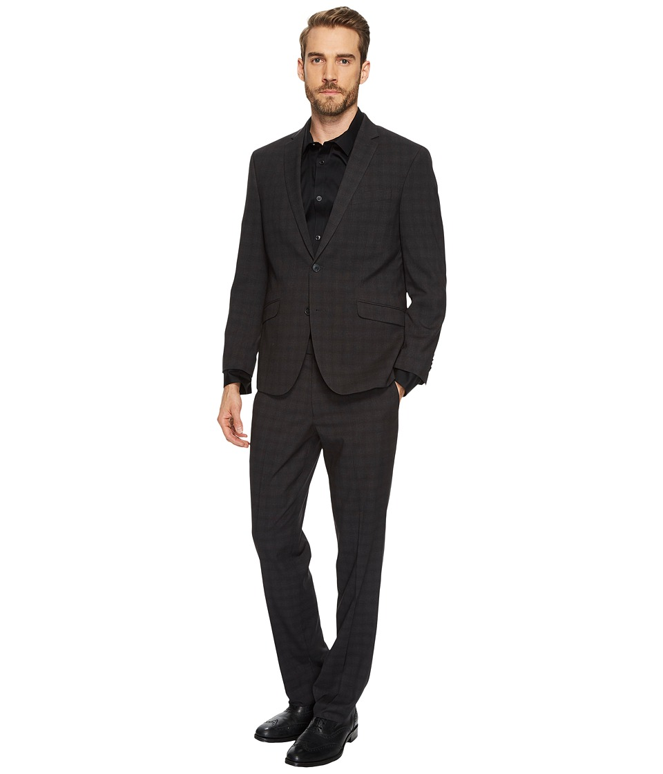 Kenneth Cole Reaction - Tonal Plaid Suit (Black) Mens Suits Sets