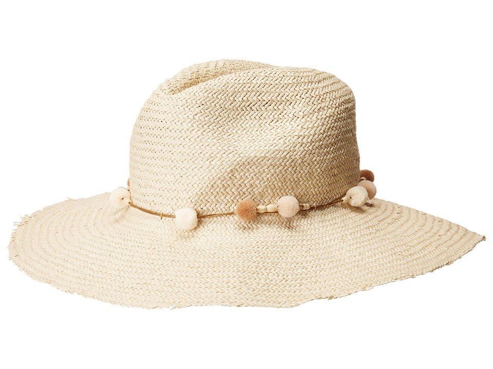 Hat Attack - The Harbor Fringed w/ Mini Pom Cord Trim (Natural/Neutral) Traditional Hats