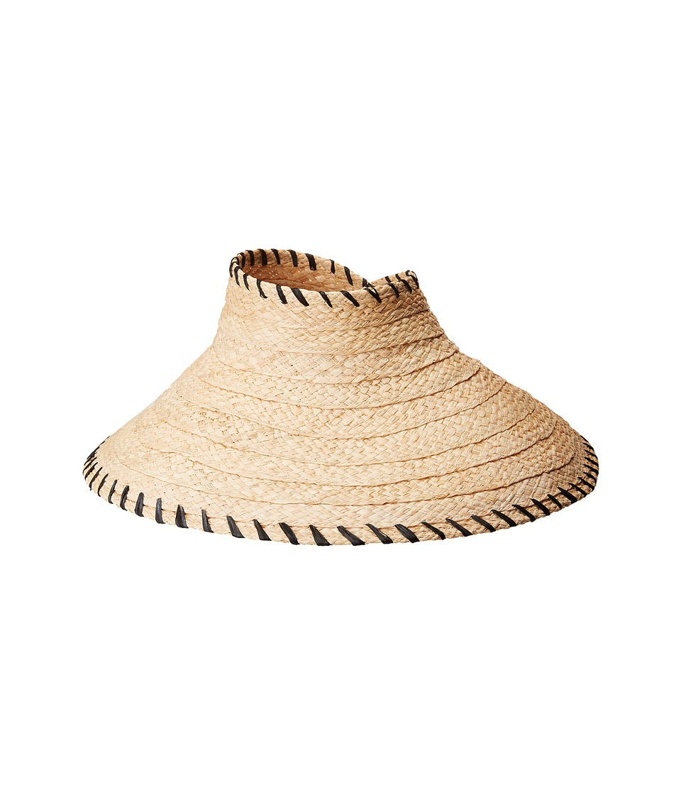 Hat Attack - Roll-Up Travel Visor w/ Whipstitch Edge (Natural/Black) Traditional Hats