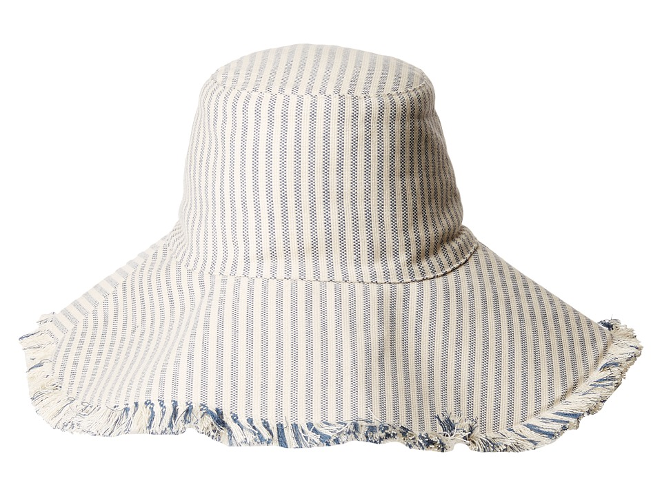 Hat Attack - Fringed Edge Sunhat (Narrow Blue Stripe) Traditional Hats