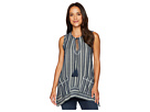 Dylan by True Grit Foundry Indigo Stripe Sleeveless Top with Pockets