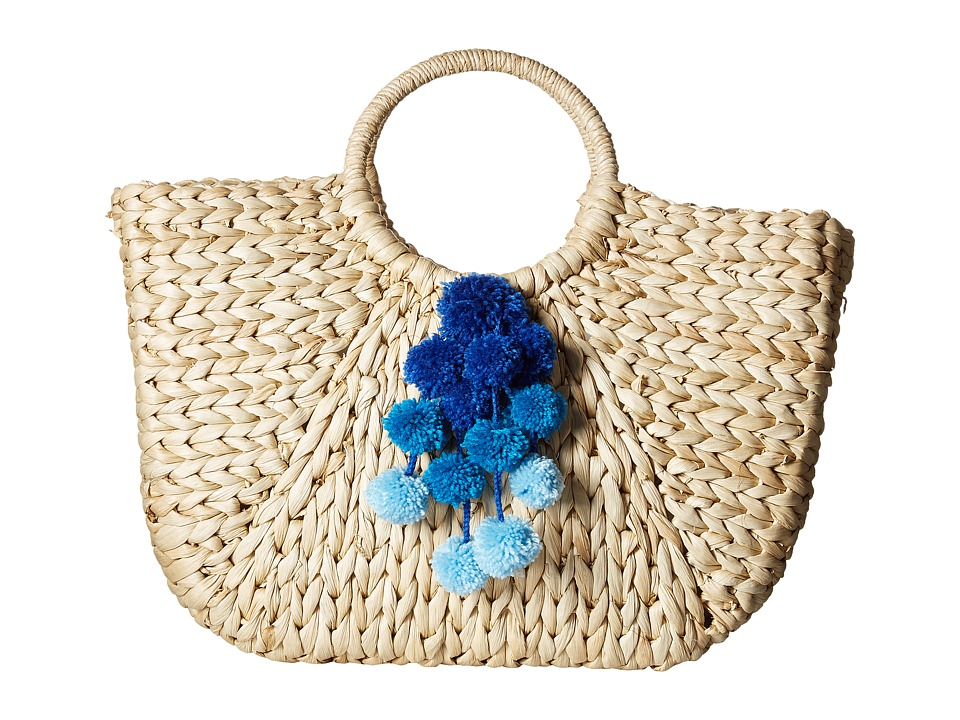 Hat Attack - Round Handle Tote w/ Pom Poms (Blues) Tote Handbags
